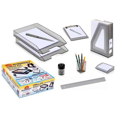 acrimet office desk organizer set kit clipboard magazine file holder letter tray letter opener paperclip holder ruler memo holder smoke - Desk Organizer Tray
