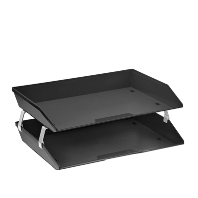 Acrimet Facility Double Letter Tray Solid Black Color