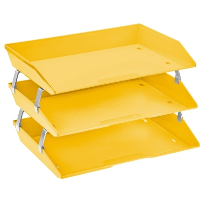 Acrimet Facility 3 Tiers Triple Letter Tray Yellow Citrus